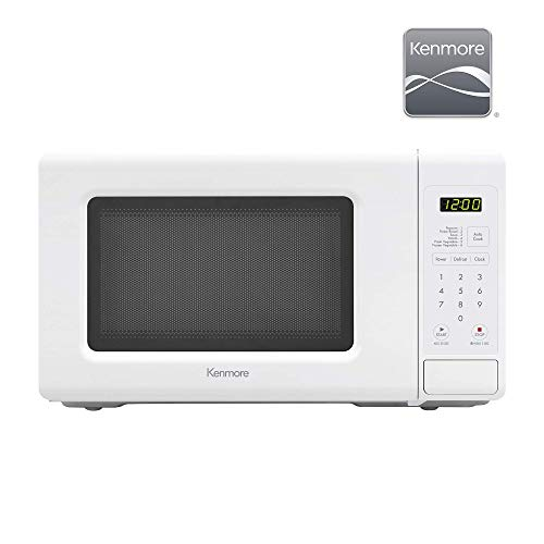 Kenmore 70722 0.7 cu. ft Compact 700 Watts 10 Power Settings, 6 Heating Presets, Removable Turntable, ADA Compliant Small Countertop Microwave, White (Renewed)