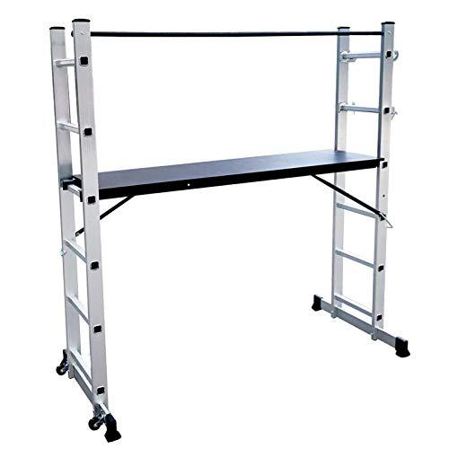 Asina 3 en 1 Escaleras Multifunción Plegable Andamio de Aluminio Cargable Hasta 150KG Antideslizante con Tablero de MDF-Platte(Plateado)