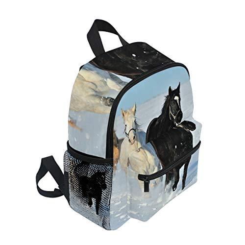 FANTAZIO mochila escolar elemental caballo corriendo en limpio nieve Bookbag