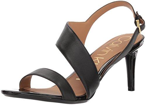 Calvin Klein Women's Lancy Heeled Sandal, Black, 6.5 Medium US