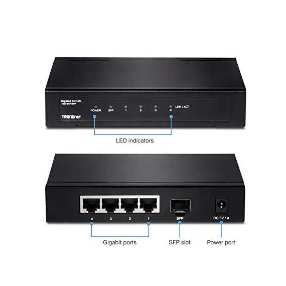 TRENDnet 4-Port Gigabit Switch with SFP Slot, TEG-S51SFP, 10 Gbps Switching Capacity, Fanless, 802.1p QoS, Rear Facing… 2 DEVICE INTERFACE: 4 x Gigabit Ethernet Ports; 1 x SFP slot; LED indicators; Wall Mount SWITCHING CAPACITY: This fanless unmanaged desktop switch offers a total switching capacity of 10 Gbps combined with the flexibility of fiber networking REAR FACING PORTS: 4 x Gigabit Ethernet ports and 1 x SFP slot in the rear with LED indicators covey port status