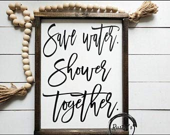 Not Branded Letreros modernos para baño con texto en inglés 'Save Water Shower Together Farmhouse'
