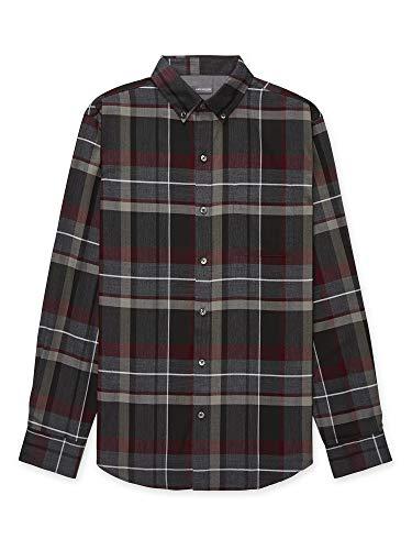 Van Heusen Men's Big & Tall Big Flex Long Sleeve Stretch Button Down Shirt, Gargoyle Medium Plaid, 2X-Large Tall