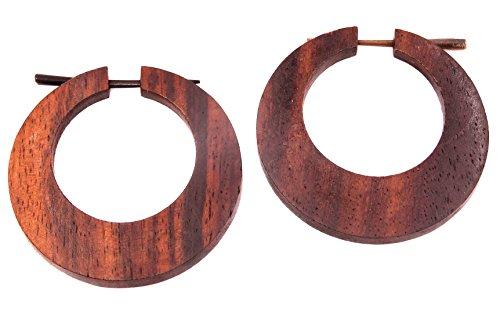 Bali Papaya falso dilatador madera pendientes Piercing hombre mujer Wooden Fake Expander Gauge Wood Earring Earrings Fake par espiral marrón aro