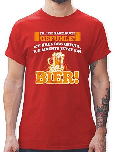 Sprüche - Ja ich Habe auch Gefühle - Bier - L - Rot - t Shirt sprüche Herren - L190 - Tshirt Herren und Männer T-Shirts