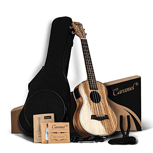 Caramel 26 inch CT103 Zebra Wood High Gloss Tenor Electric Ukulele Professional Ukelele Kit Beginner Guitar Starter Bundle Aquila Strings, Padded Gig Bag, Strap and Wall mount Set