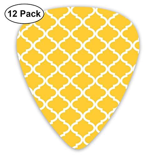 Gitaar Pick Mosterd Geel Wit Quatrefoil Patroon 12 Stuk Gitaar Paddle Set Gemaakt Van Milieubescherming ABS Materiaal, Geschikt voor Gitaar, Quads, Etc