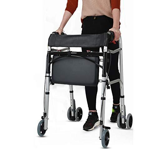 LBYMYB Walker per Anziani Riabilitazione a Quattro Ruote con Altezza Regolabile per Sedile e Freno a Mano Sedia a rotelle