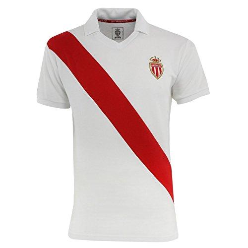 Maglietta Polo retrò as Monaco–Collezione ufficiale ASM FC–Calcio–dimensioni Adulti Uomo, Uomo, bianco, S