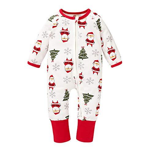 Baby Boys Girls Halloween Long Sleeve Romper Jumpsuit/Skirt Pumpkin Ghost Printed Pajama Outfits (Romper#Christmas, 0-6 Months)