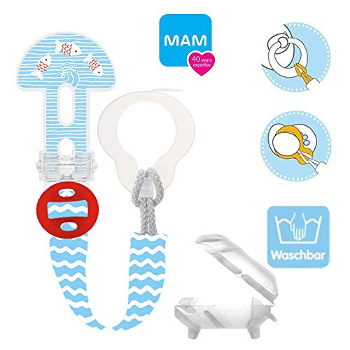 MAM Clip it ! Fashion & Cover Schnullerband Schnullerkette mit Saugerschutz, längenverstellbar, waschbar
