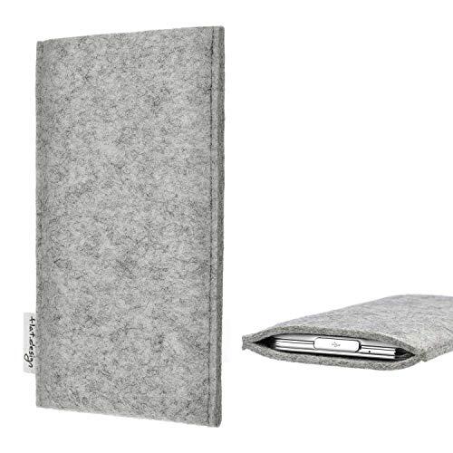 flat.design Handy Hülle Porto kompatibel mit BlackBerry KEYone Black Edition maßgefertigte Handytasche Filz Tasche Schutz Hülle fair grau