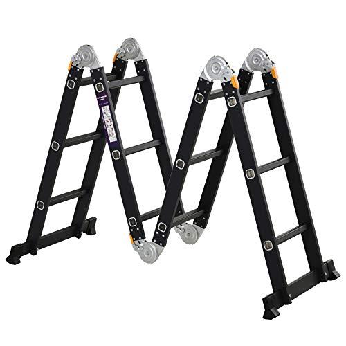DURHAND Escalera Multiusos Plegable Escalón Caballete 5 en 1 Portátil con 2 Placas de Plataforma Pie Antideslizante 6 Interruptores Bisagra Aluminio 150 kg 70x61x11 cm Negro