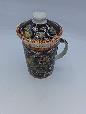 Black Dragon 10 oz Ceramic Tea Mug with Infuser, Lid and handle - Single Cup for Loose Tea Brewing (Black)