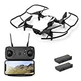 Solid Moxie S163 WiFi FPV Drone with Camera for Adults 1080p HD Live Video with 2 Batteries | Foldable Drone for Beginners | RC Quadcopter for Kids with Longer Flight Time | Follow Me, Altitude Hold