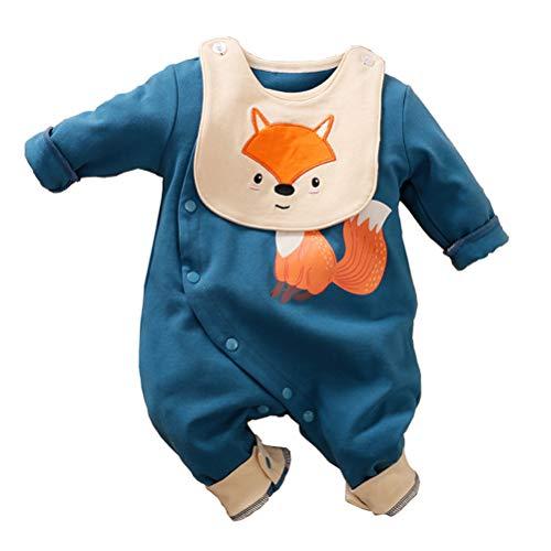 Baby Jungen Mädchen Strampler Fuchs Musterdruck Design Baby Süß Langarm Pyjamas Säugling Outfit Overall Schlafanzug Kleidung