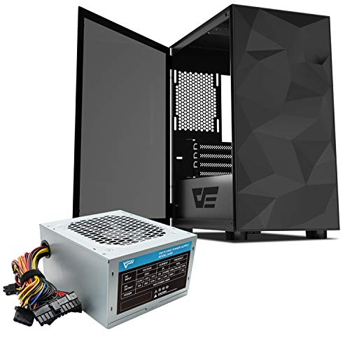 Vetroo darkFlash Micro ATX Mini ITX MicroATX MATX Computer Case with Tempered Glass Door and Vetroo 380 Watt Power Supply Front I/O: 2X USB 2.0, 1X USB 3.0 and Audio in/Out (M21 Black)