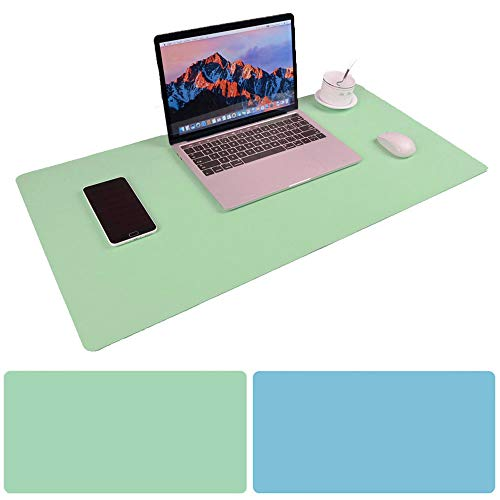 Desk Mouse Pad, 31.5x15.75 Inches Non-Slip PU Leather Desk Mouse Mat Waterproof Desk Pad Protector Large Gaming Writing Mat for Office Home Desks (Mint Green+Sky Blue)