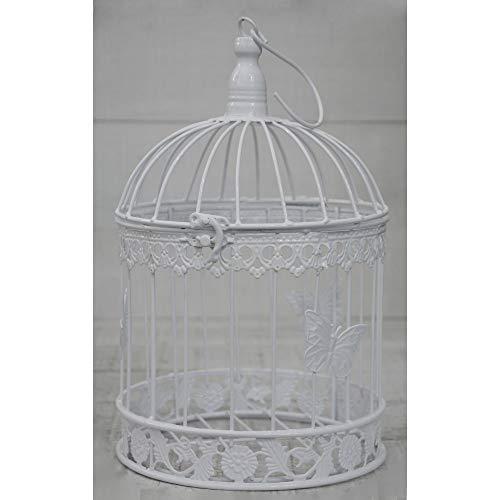 Hogar y Mas Bianco Gabbia di Metallo Decorativo, Elegante, Originale Farfalla. Arredamento Gabbie, Matrimonio, Comunione, Giardino. - Mezzo
