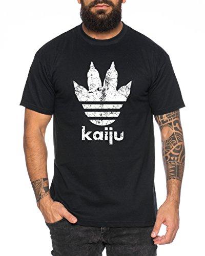 Adi Kaiju Herren T-Shirt Gojira Godzilla Japan Nippon Kaiju Kanji Tokyo, Farbe:Schwarz;Größe:L