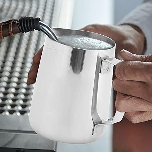01 Tazza per montalatte Tazza per Latte in Acciaio Inossidabile Resistente all'Usura Brocca per Schiuma Durevole in Acciaio Inossidabile Schiuma di Latte per Latte(350ML, 12)