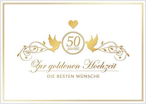 fioniony Zur goldenen Hochzeit die besten Wünsche Edle Glückwunschkarte zur Hochzeit Klappgrusskarte, Hochzeitskarte mit Herz und Tauben in Gold/Gelb (Kein Präge-/Golddruck). (Mit Umschlag) (1)