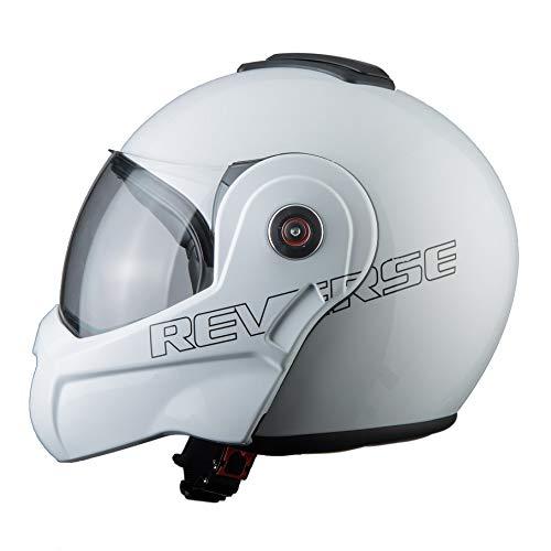 BHR Helmets 807 REVERSE Motorradhelm Unisex für Erwachsene, Weiss, L