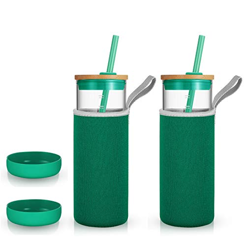 tronco 24oz Glass Tumbler Glass Water Bottle Straw Silicone Pedestal Sleeve Bamboo Lid With Removeable Soft Insulator Sleeve - BPA Free