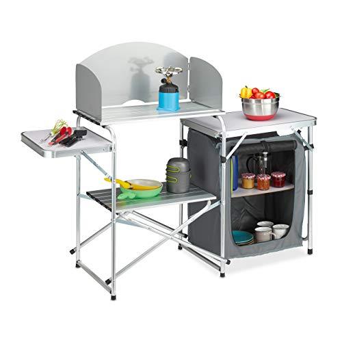 Relaxdays Campingküche Cocina protección contra el Viento, Plegable, Bolsa de Transporte, Armario de Camping, Aluminio y MDF, 111 x 147 x 46 cm, Color Blanco y Gris