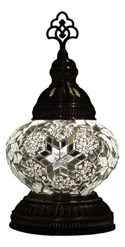 Oosterse mozaïek tafellamp top (Turkse lamp) ø 13 cm wit
