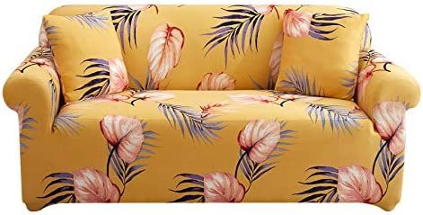 UMETE Stretch Sofa Cover Printed Couch Covers, 1 Piece Loveseat Slipcovers for 2 Cushion Couches, Furniture Protector for Living Room with 2 Pillowcases (Medium,Light Yellow)