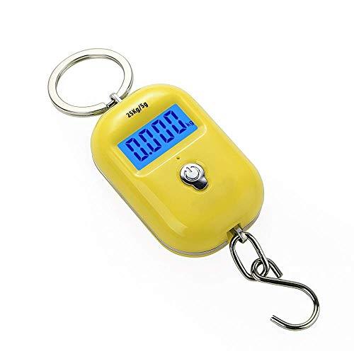 25Kg / 5g Mini báscula colgante digital electrónica portátil gancho de equipaje luz trasera LCD Steelyard de cocina para pescar viajes de pesca-Yellow