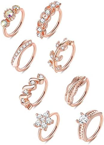 ORAZIO 8Pcs 20G Stainless Steel Nose Ring Hoop Paved CZ Leaf Cartilage Earring for Women Body product image