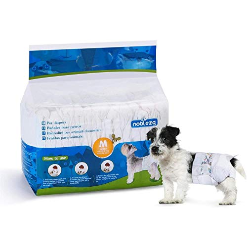Nobleza - Pañales para Perros Desechables Hembra Cachorro Entrenamiento Pañales Súper Absorbente Envolturas para Mascotas Paquete de 12 26-46 cm
