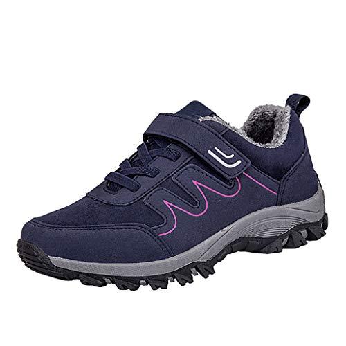 HDUFGJ Damen Winter Trekking- & Wanderhalbschuhe Schneeschuhe Warme rutschfest Outdoor Schuhe Plus Samt rutschfeste Baumwollschuhe Flache Schuhe Wanderstiefel Stiefeletten39 EU(Blau)