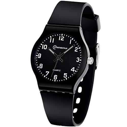 Reloj para Niñas Niños, Reloj de Cuarzo Analógico Resistente al Agua Relojes de Pulsera de Correa Suave Tiempo Fácil de Aprender Relojes para Niños (Negro)