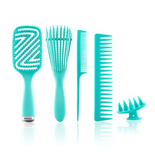 Detangling Brush Comb Set for Curly Hair, Detangler Brush Kit with...