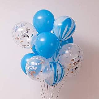 40 Pcs Birthday Party Decorations Balloons Set, Silver Confetti and Blue Agate Marble Balloons Turquoise Blue Latex Balloons for Wedding Baby Showers Christmas Festival Ceremony