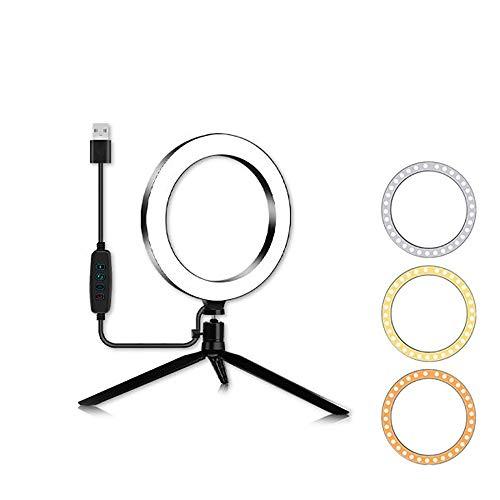 ZJING LED-ringlicht Mit Stativ, Dimmbares Desktop-Selfie-licht in 3 Farben, Verwendet Für Videoaufnahmen, Make-up, Fotografie Und Live-Streaming,A