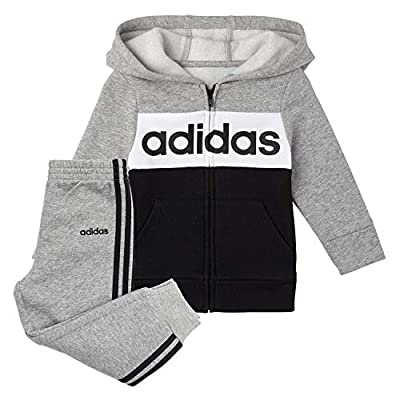 adidas Boys' Little Zip Front Hoodie & Sweatpants Clothing Set, Black/Grey Heather, 5