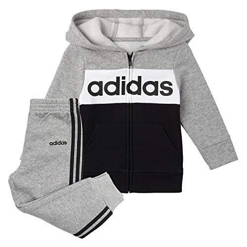 adidas Boys' Little Zip Front Hoodie & Sweatpants Clothing Set, Black/Grey Heather, 5