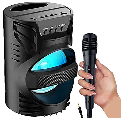 Upgraded Version WS-04 Loud Stereo Sound & Rich Bass Portable Wireless Rechargeable Multimedia System Karaoke Handle Speaker Splash Proof | Led Color Changing Lights | Mini Home Theatre { Free MIC }