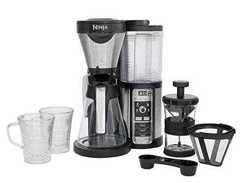 Ninja [CF060EU] Kaffeeautomat mit Timer und Auto-iQ Technologie , Kaffeemaschine inklusive Milchaufschäumer, 2 Thermo Tassen und Glaskaraffe, Filter Kaffeebereiter, silber