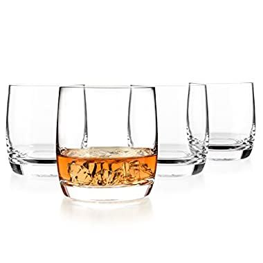 Luxbe - Scotch & Whiskey 10.1-ounce Glasses, Set of 4-100% Hand Blown Lead-free Crystal - Barware Old Fashioned Cocktail Glass Cups -Elegant, Liquor or Bourbon Tumblers