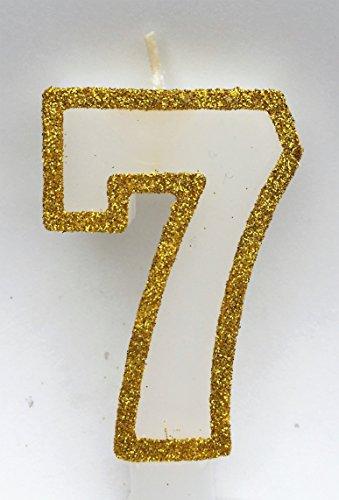 WASIWAX y dorado cumpleaños número velas-dorado con purpurina, cera, Gold Glitter, 7