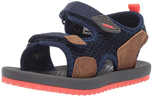 OshKosh B'Gosh Boy's Tetris Athletic Sandal, Brown, 9 M US Toddler