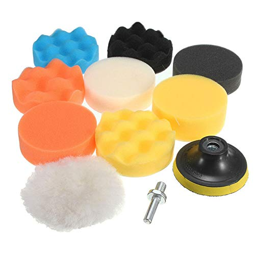 CANOPUS Buffing Pad Kit: 11 PCS/3 Inch Compound Drill Buffing Sponge Pads for Polishing, Waxing and Sealing Glaze