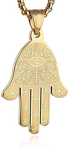N-G Collar con Colgante de Mano de Fátima de Ojo Egipcio de Acero Inoxidable Éxito y protección Lucky