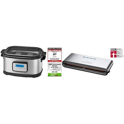 Profi Cook SV-1112 ProfiCook Sous Vide–Schongarer Topf und Vakuum für Küche Kochen bei niedrigen Temperaturen, 8,5l, 520W, grau/schwarz, 8.5 liters & ProfiCook PC-VK 1080 Edelstahl-Vakuumiergerät