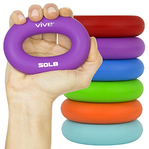 Vive Grip Strengtheners 6 Pack  Forearm Ring Hand Exercisers  Silicone Squeezer Gripper for Muscle Strengthening Training Tool  Arthritis Finger Physical Therapy PT Kit Trainer